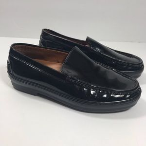 Tod's black patent leather driving loafers size 36